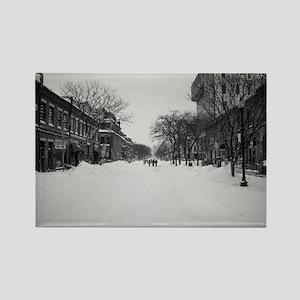 Wintry Boston, Newbury St Rectangle Magnet
