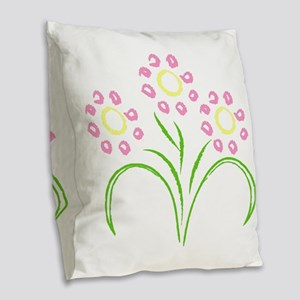 Rows Of Pink Flowers Burlap Throw Pillow