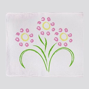 Pink and Yellow Flowers Throw Blanket