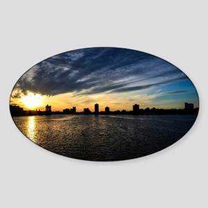 Blazing Boston Sunset Sticker (Oval)