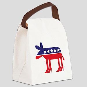 Democratic Donkey on Heels Canvas Lunch Bag