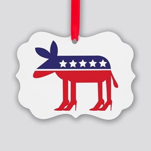 Democratic Donkey on Heels Picture Ornament