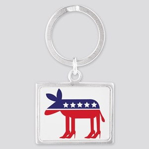 Democratic Donkey on Heels Landscape Keychain