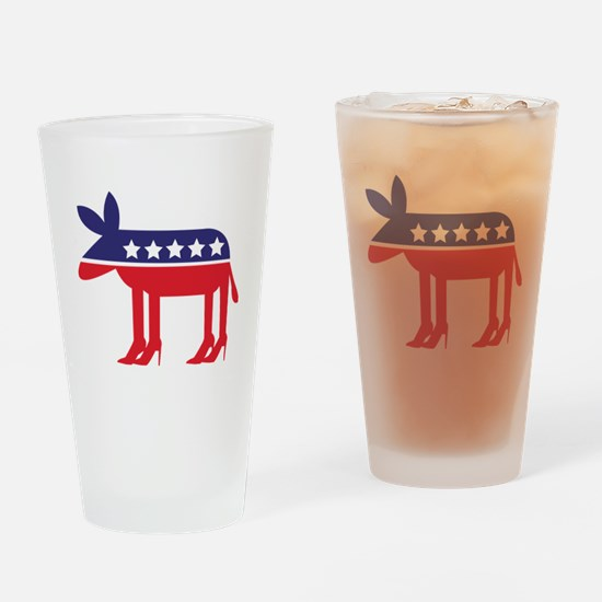Democratic Donkey on Heels Drinking Glass