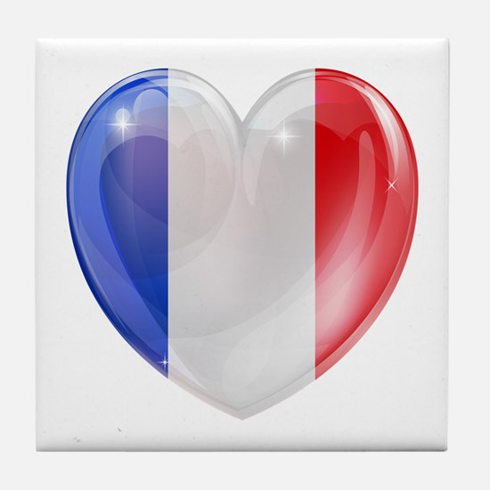 My French Heart Tile Coaster