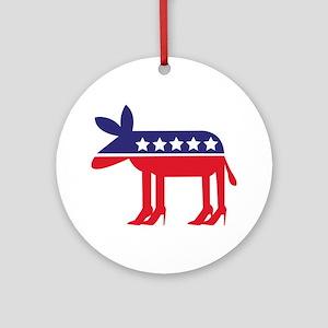 Democratic Donkey on Heels Ornament (Round)
