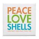 Peace-Love-Shells Tile Coaster