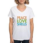 Peace-Love-Shells Women's V-Neck T-Shirt
