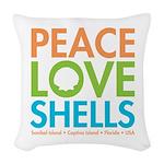 Peace-Love-Shells Woven Throw Pillow