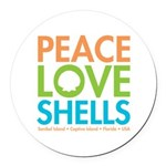 Peace-Love-Shells Round Car Magnet