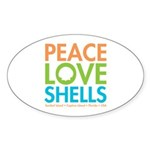 Peace-Love-Shells Sticker (Oval 50 pk)
