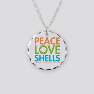 Peace-Love-Shells Necklace Circle Charm