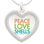 Peace-Love-Shells Silver Heart Necklace