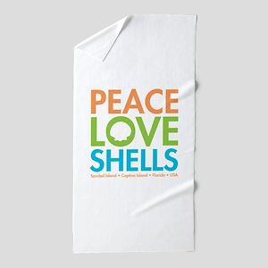 Peace-Love-Shells Beach Towel