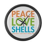 Peace-Love-Shells Large Wall Clock