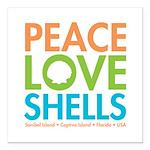 Peace-Love-Shells Square Car Magnet 3