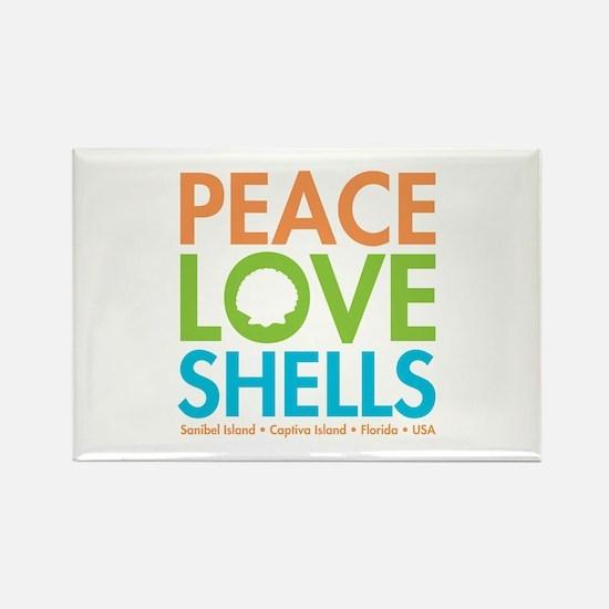 Peace-Love-Shells Rectangle Magnet