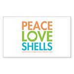 Peace-Love-Shells Sticker (Rectangle 10 pk)