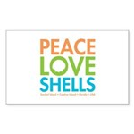 Peace-Love-Shells Sticker (Rectangle 50 pk)