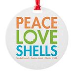 Peace-Love-Shells Round Ornament