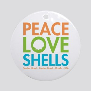 Peace-Love-Shells Ornament (Round)