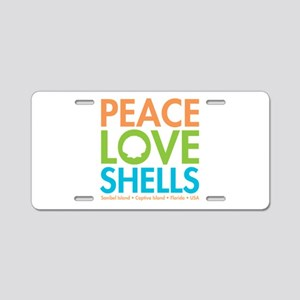 Peace-Love-Shells Aluminum License Plate