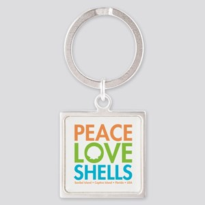 Peace-Love-Shells Square Keychain