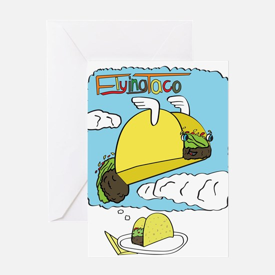 Flying Taco Dreams - Large Greeting Cards