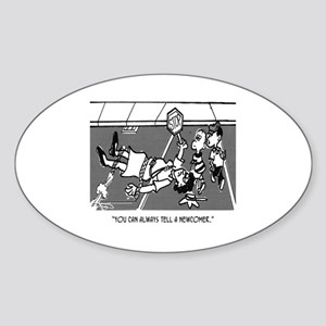 Crossing Guard Cartoon 2163 Sticker (Oval)