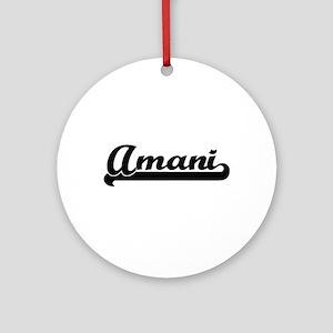 Amani Classic Retro Name Design Ornament (Round)
