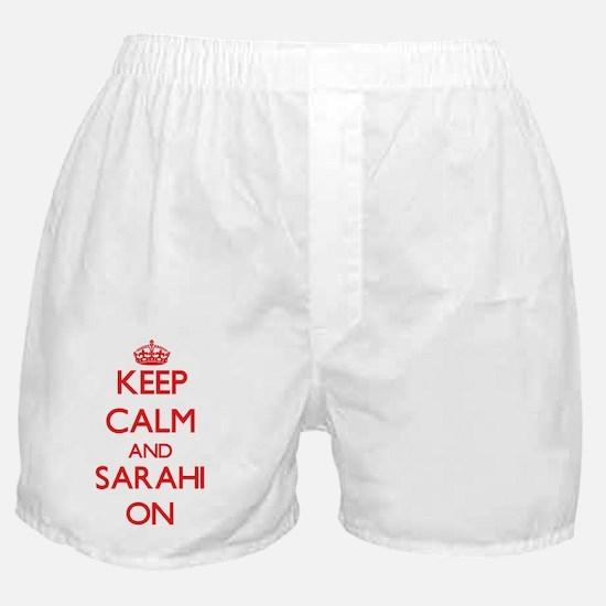 Keep Calm and Sarahi ON Boxer Shorts