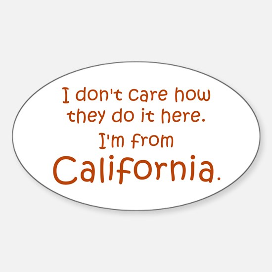 From California Sticker (Oval)