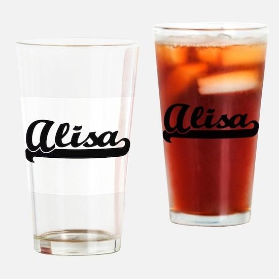 Alisa Classic Retro Name Design Drinking Glass