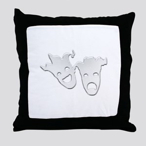 Silver Theater Masks of Comedy and Tr Throw Pillow