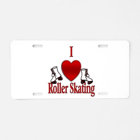 I Heart Roller Skating Aluminum License Plate