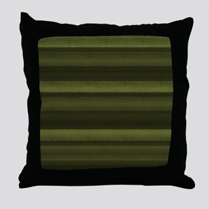 Elegant Olive Green Stripes Throw Pillow