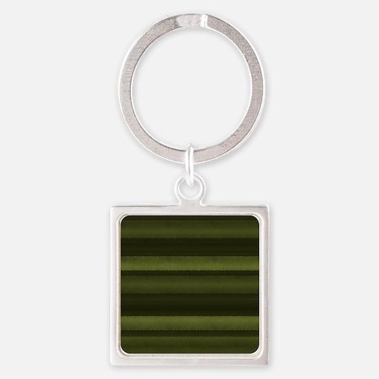 Elegant Olive Green Stripes Square Keychain