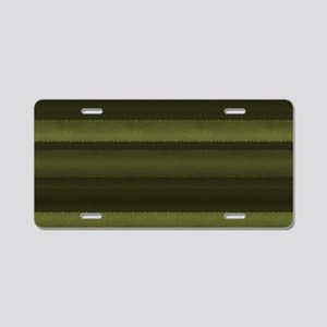 Elegant Olive Green Stripes Aluminum License Plate