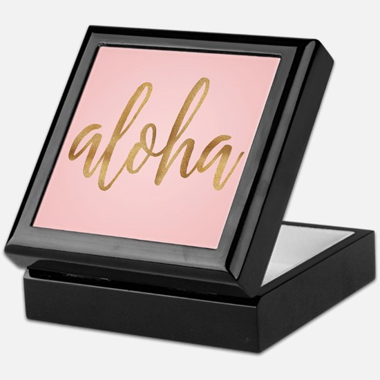Aloha Pink and Gold Keepsake Box