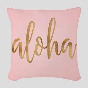 Aloha Pink and Gold Woven Throw Pillow