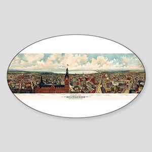 Vintage Pictorial Map of Milwaukee WI (189 Sticker