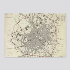 Vintage Map of Milan Italy (1832) 5'x7'Area Rug