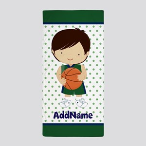 Green Blue Basketball Personalized Beach Towel