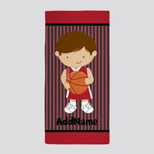Red Black Stripes Basketball Personali Beach Towel