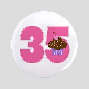 35th Birthday Cupcake Button