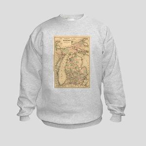 Vintage Map of The Michigan Railro Kids Sweatshirt