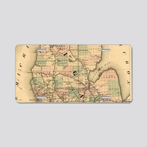 Vintage Map of The Michigan Aluminum License Plate