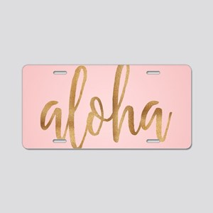 Aloha Pink and Gold Aluminum License Plate