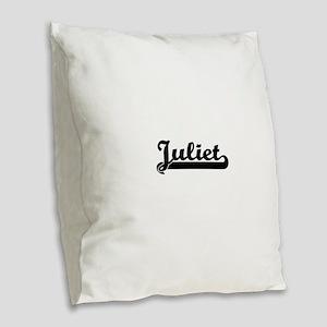 Juliet Classic Retro Name Desi Burlap Throw Pillow