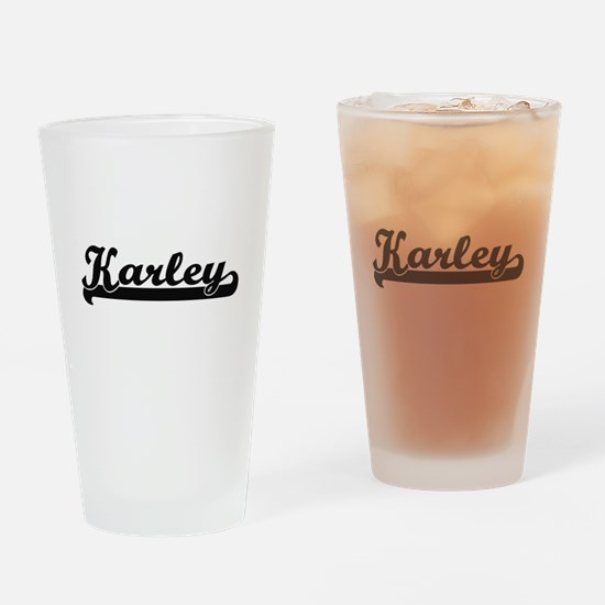 Karley Classic Retro Name Design Drinking Glass
